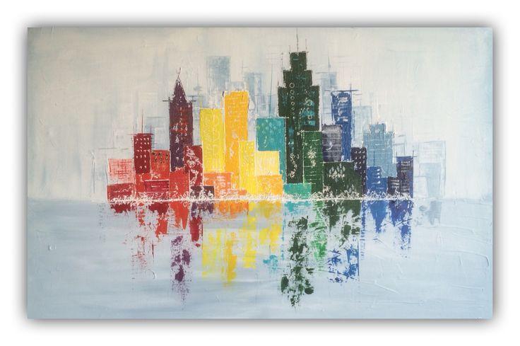 City skyline, acrylic painting paletknife, 115x80cm by Erica Willemsen