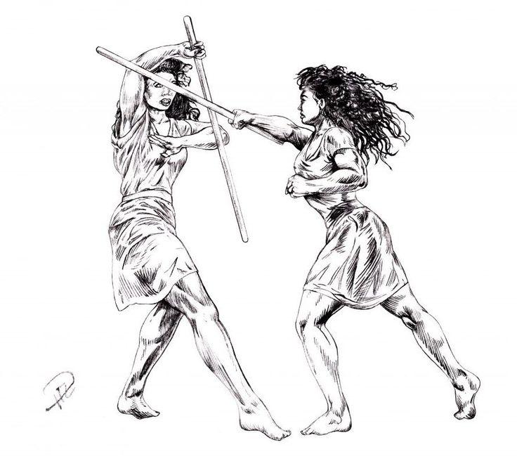 Kati and Corinna sparring sketch: forward strike. see https://paulusindomitus.files.wordpress.com/2017/05/katis-utfall-vs-corinna-skiss-lounge-warrior-women-kontrastmod-e1495075907148.jpg