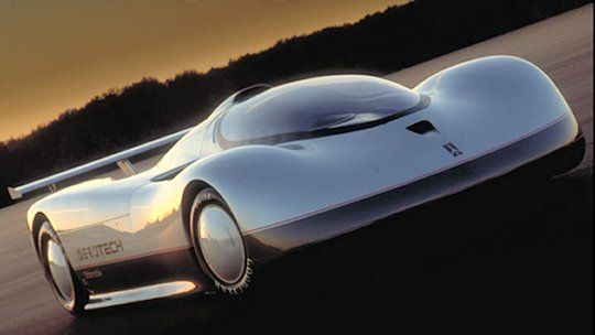 1986 Oldsmobile Aerotech. Streamlined bodywork draped over a MARCH Indy car chassis