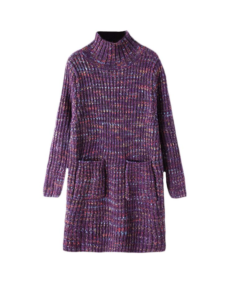 Mix-tone High-neck Patch-pockets Long Sweater | BlackFive