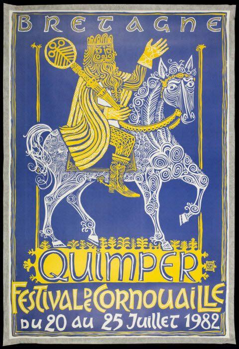 affiche - BRETAGNE QUIMPER FESTIVAL DE CORNOUAILLE du 20 au 25 Juillet 1982…