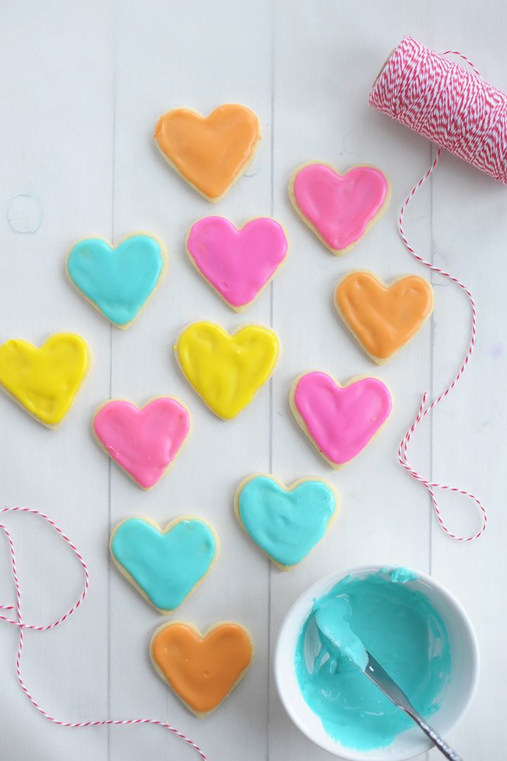 Such a fun idea for Valentine's Day –make these mini heart Valentine Sugar Cookies. They're colorful, delicious, and perfectly festive.