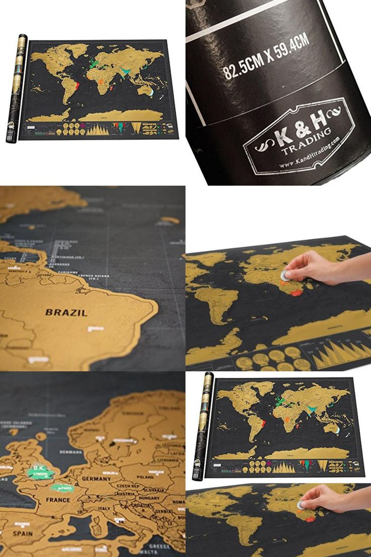 [visit To Buy] Large Size Personalized Black Scratchoff World Map Deluxe  Poster