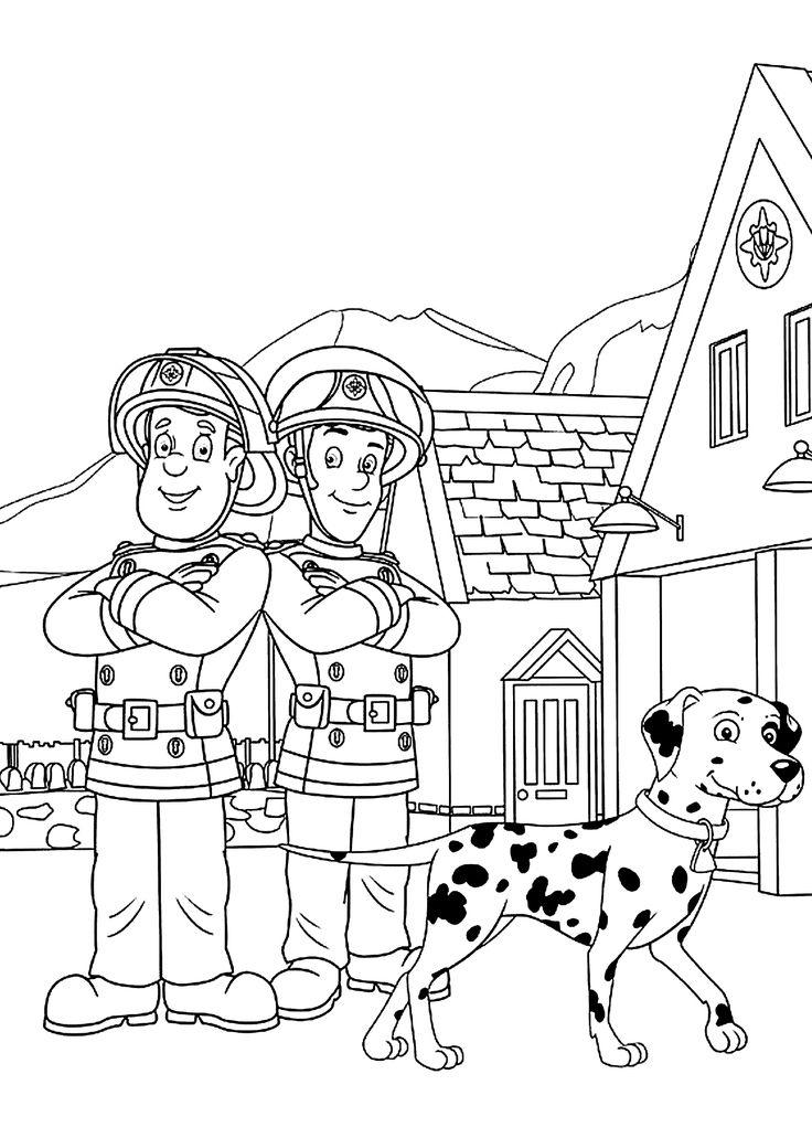 free printable color book pages santa fireman Fireman