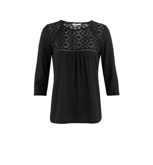 T-shirt avec dentelle Femme noir - Promod