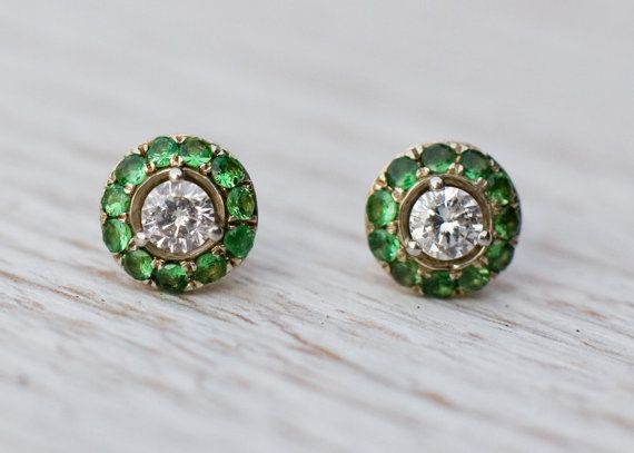Diamond stud earrings with green garnet  in platinum and by ARPELC