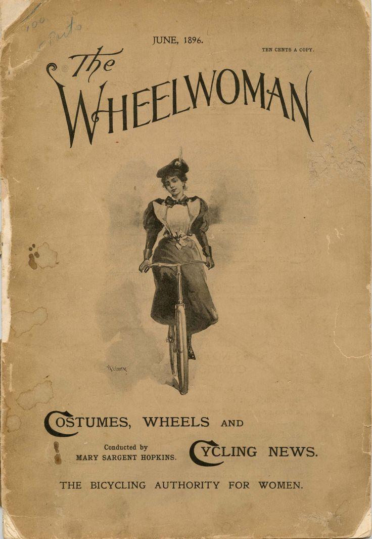 """Mary Sargent Hopkins < The Wheelwoman >, Boston giugno 1896. Si firmava Miss """"Merrie Wheeler"""" e fu a modo suo e con la sua rivista un pioniere dell'emancipazione femminile. Per l'America è stata il volto della donna in bicicletta. """"La ruota è oggi la più grande emancipatrice delle donne - donne che vogliano essere libere da stress, mal di testa e altri mali"""", scriveva, affermando anche che """"la bicicletta per le donne merita il rango delle più grandi invenzioni del secolo."""""""