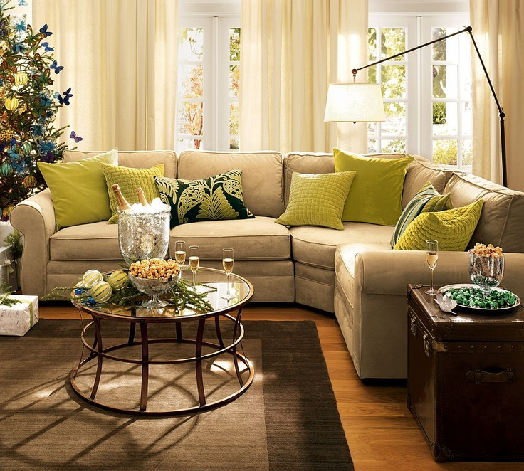 Pottery Barn Comfy Sectional With Green Pillows Pops