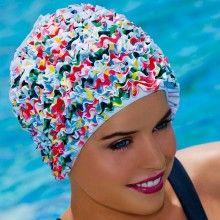 Bonnets de bain femme en tissu vaguelettes, bonnet de bain fantaisie, swim  cap