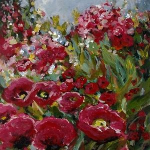 """2012, Wild Poppies by Coral May Barclay Acrylic ~ 6"""" x 6"""""""