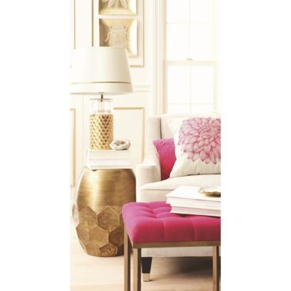 Threshold™ Round Metal Honeycomb Accent Table   Gold