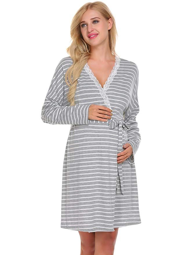 87711cff3ba Ekouaer Womens Pregnant Breastfeeding Robe Labor Delivery Maternity Nursing  Nightgowns (XXL