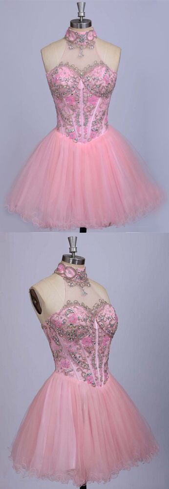 halter prom dresses, pink prom dresses, short prom dresses