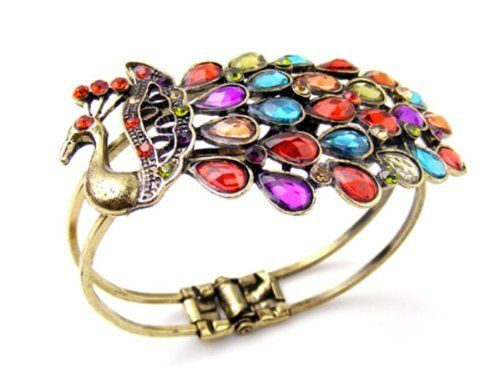 Zehui Vintage Style Rainbow Crystal Peacock Bangle Bracelet Cuff Zehui. $3.99. Brand New & High Quality. Material: Zinc Alloy, Rhinestone. Color: As the Picture Show