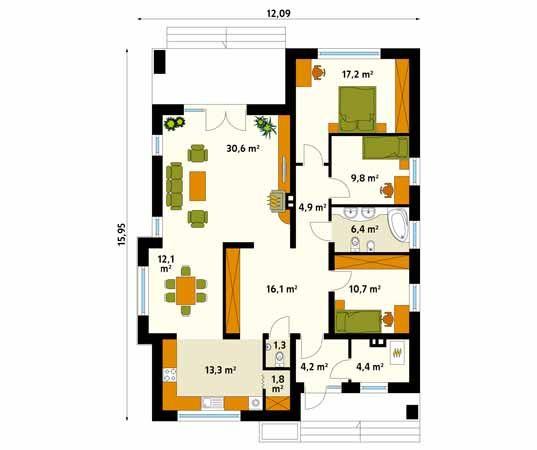 Projekt domu Aster - rzut parteru