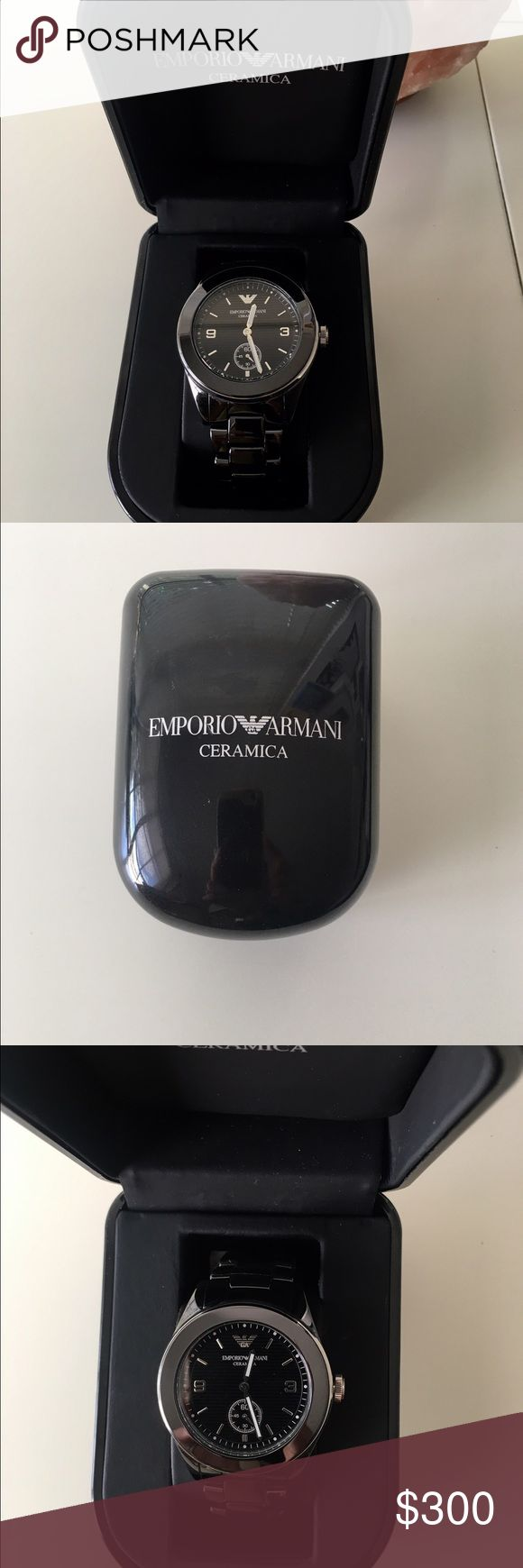 NWT! Emporio Armani Ceramica Black Watch! 🚨PRICE DROP!🚨EMPORIO ARMANI: Black ceramic chronograph watch.  Ceramica Collection Analog Quartz Movement 30 Meters / 100 Feet / 3 ATM Water Resistant 35mm Case Diameter Mineral Crystal Emporio Armani Accessories Watches