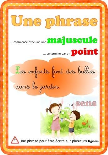"""Affiche de classe : grammaire """"la phrase""""."""