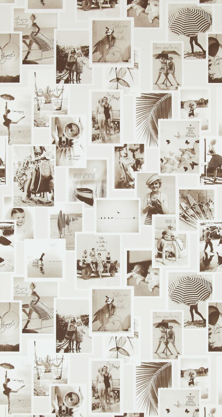 Little Moments. Retro photo collage wallpaper. Pattern 18281.