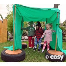Yet another way of making tyres useful. Use these tyre stands as a base for den building or screen spaces.