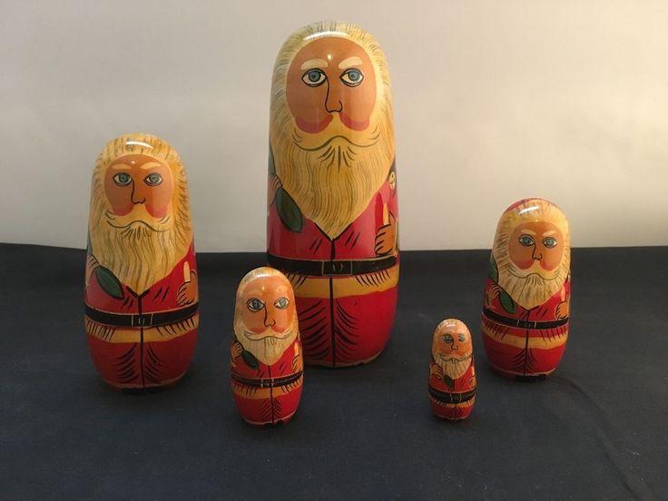 Santa Claus Nesting Dolls – 5 Pieces Set  in Dolls, Bears, Babushka Dolls   eBay!