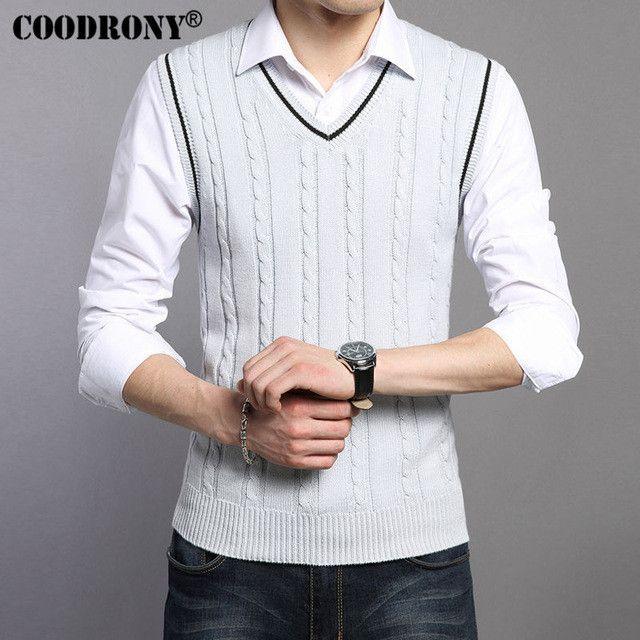 COODRONY Wool Vest Men 2017 Autumn Spring New Classic V-neck Sleeveless Sweater Men Cotton Knitwear Men Brand Clothing Coat