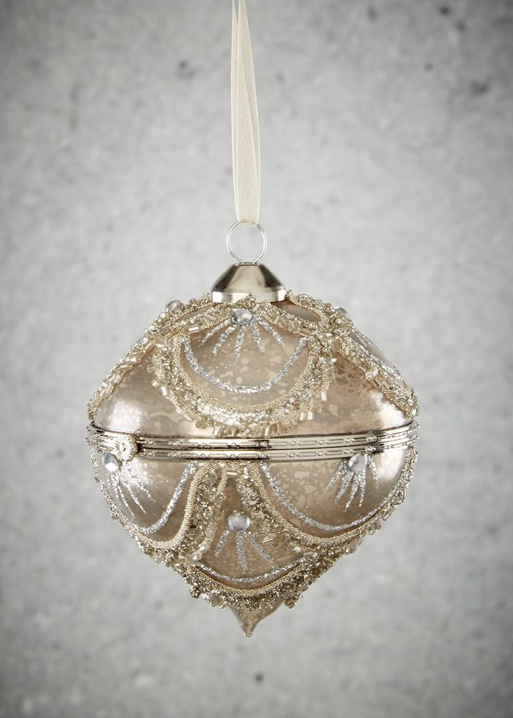 Ornate bead encrusted locket hanging Christmas tree decoration. Dimensions: 10cm x 8cm.