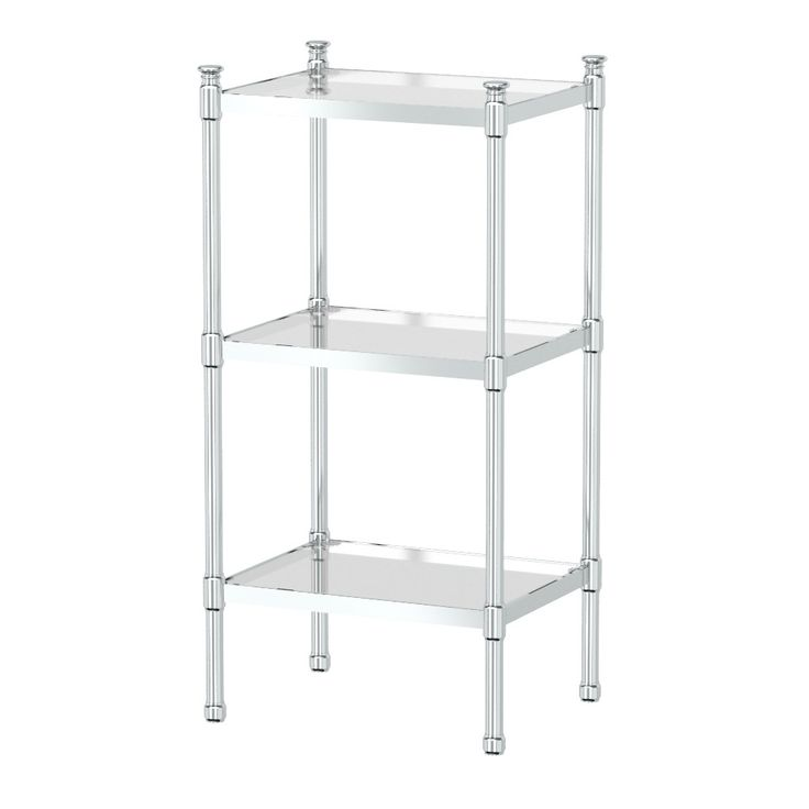 Images Photos Buy Gatco Taboret Glass and Metal Shelving Unit in Chrome from Bed Bath u Beyond