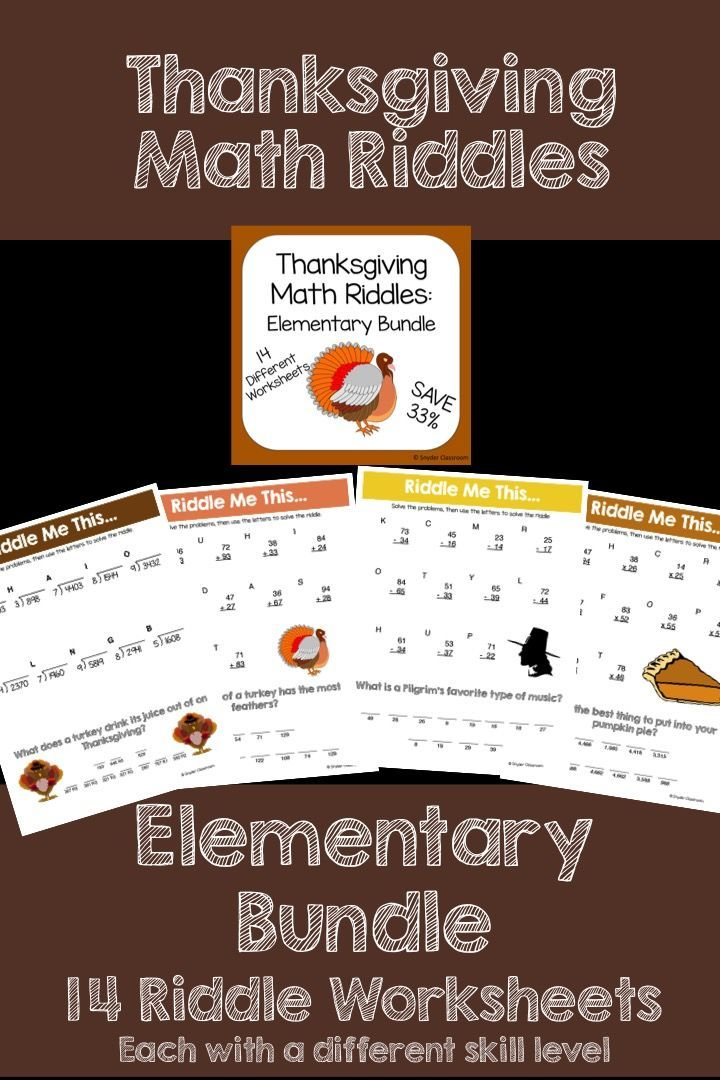thanksgiving math riddles elementary bundle activities it is and thanksgiving. Black Bedroom Furniture Sets. Home Design Ideas