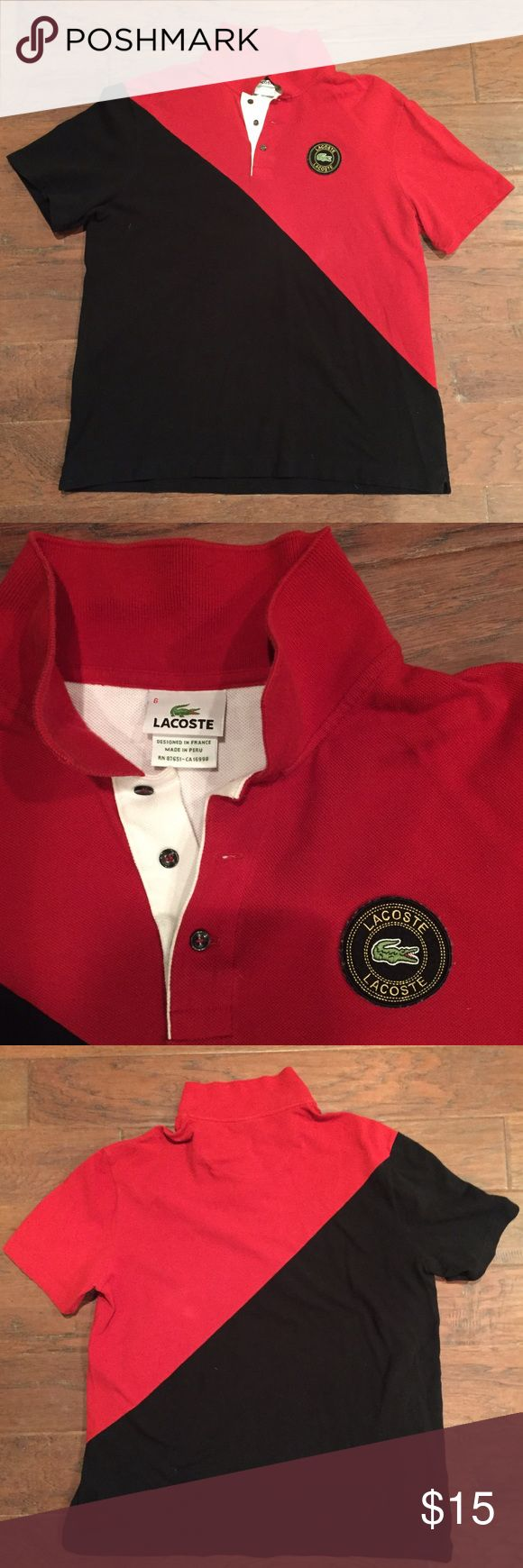 Lacoste Polo Shirt Lacoste - Red & Black - Polo Shirt - Size Large Lacoste Shirts Polos