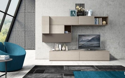 Cool Wall Storage Unit Collection from Colombini Casa. Contemporary Multi-Shaped Living Room Wall Furniture Featuring High Mounted Cabinet and Low Console TV Stand Unit - Master Bedroom