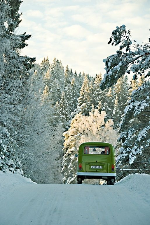 VW in the snow.