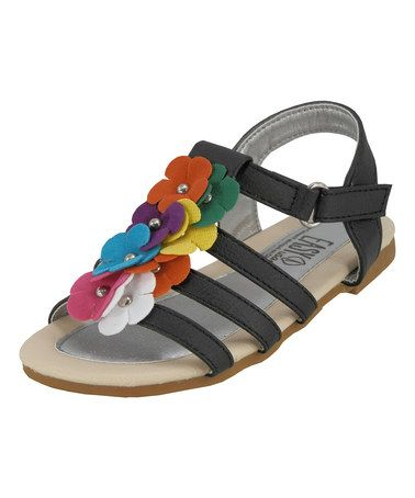 Black & Rainbow Flower Sandal by Easy Shoes #zulily #zulilyfinds Just  ordered these for