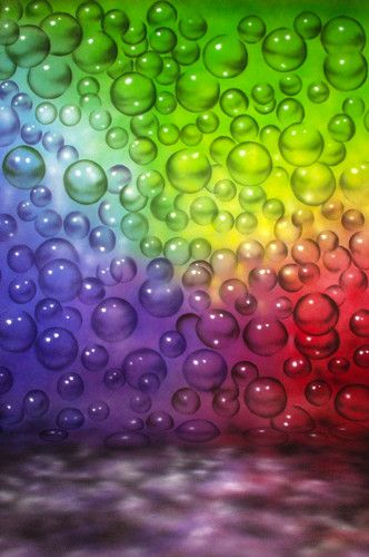 MA6504 Abstract Muslin Backdrop Rainbow Bubbles Hand Painted