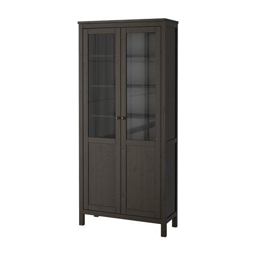 HEMNES Cabinet with panel/glass door - black-brown - IKEA