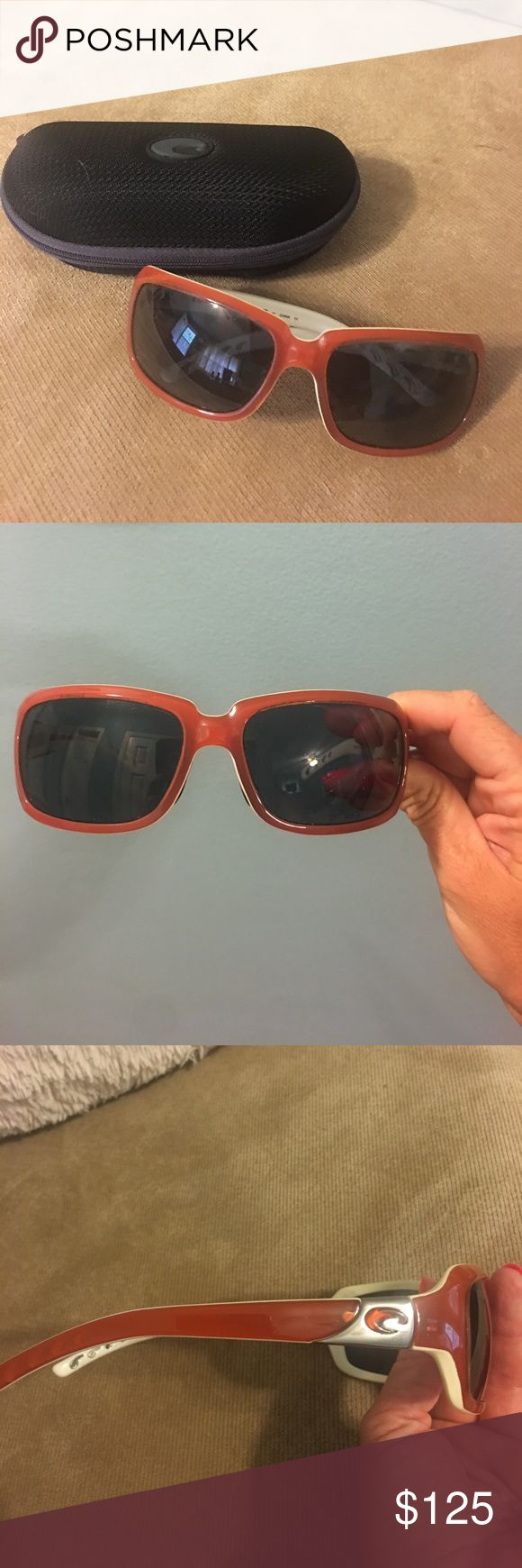 Women's Costa Del Mar Sunglasses Beautiful women's Costa Del Mar sunglasses!! Burnt orange frames and the inside is white.   Style: Isabela                   580p polarized lenses. These sunglasses are in AMAZING condition and in my opinion, Costa sunglasses are the best on the market. Comes with the case! Costa Del Mar Accessories Glasses