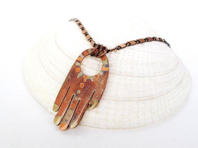 hand of fatima copper torched pendant