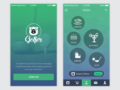 Golfer App, Home Screen