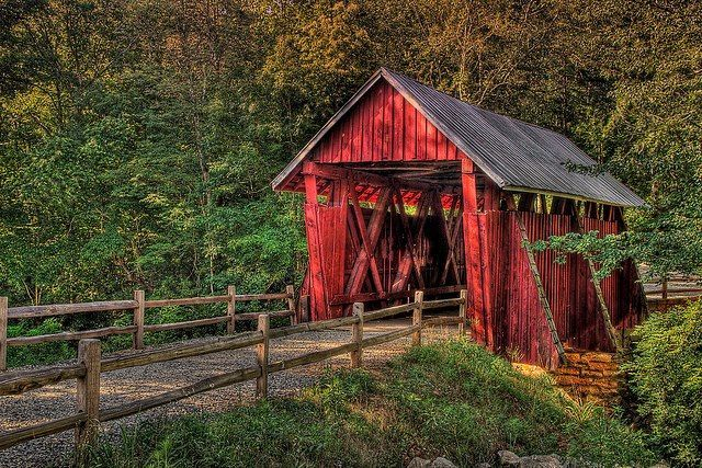 Campbell's Covered Bridge, built in 1909 located outside Greenville South…