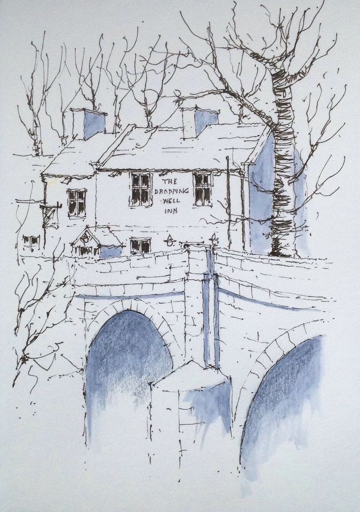 """""""The Dropping Well Inn"""" at Knaresborough in North Yorkshire ~ sketch"""