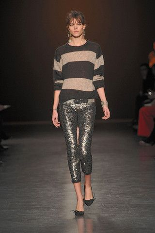 stripped shirt and sequined pants