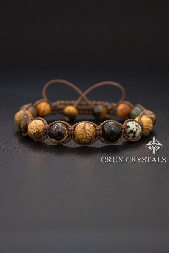Sahara Men's Shamballa Bracelet Natural Stone by CruxCrystals