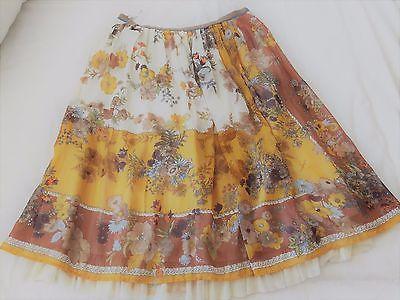 Otome Lois Crayon designer botanical scarf p skirt mustard multi pleats M 8 10