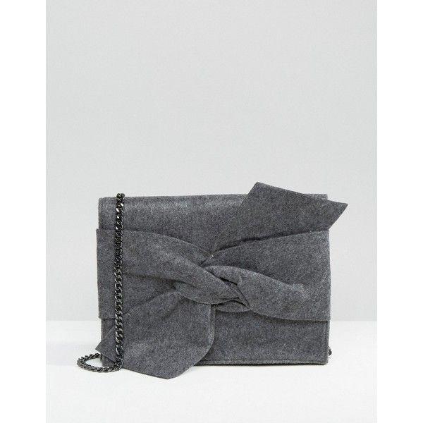Mango Melton Bow Bag ($49) ❤ liked on Polyvore featuring bags, handbags, shoulder bags, grey, chain handle handbags, grey shoulder bag, mango purse, chain strap purse and mango handbags