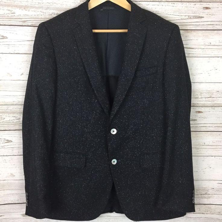 HUGO BOSS Mens Wool Blazer 40R Black 2-Button Sport Coat Hutsons2 Stretch Fit  | eBay