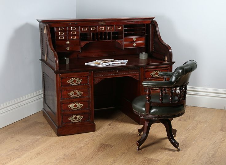 Victorian Mahogany Roll Top Derby Pedestal Desk (Circa 1890)