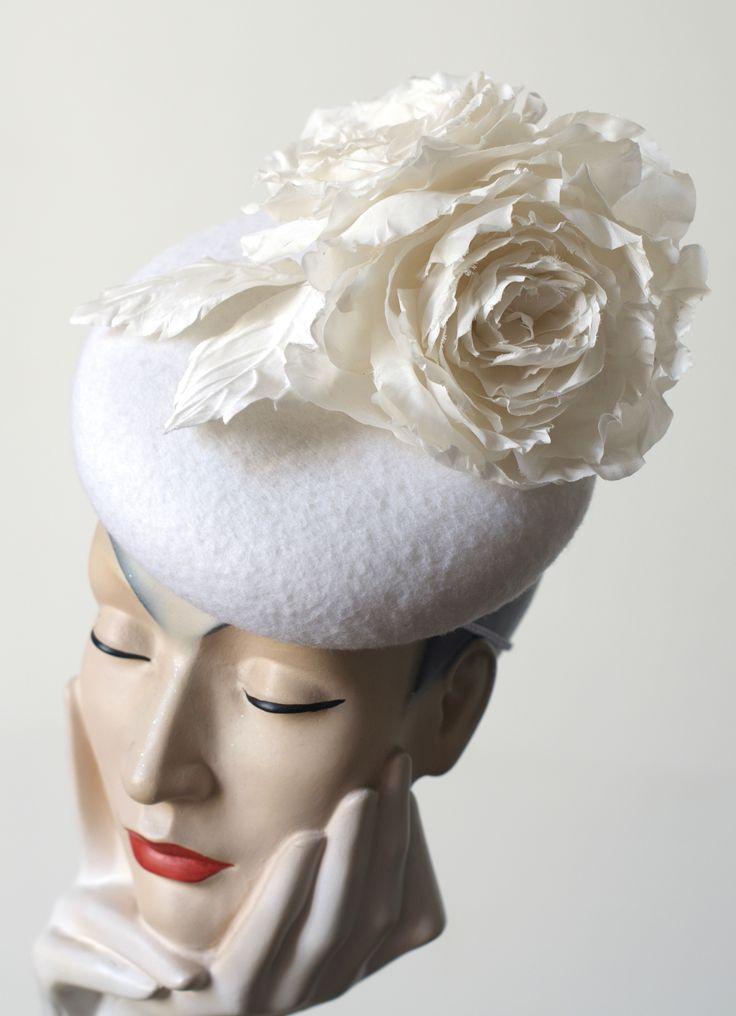 bridal felt hat with silk rose