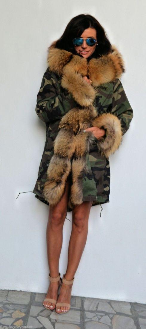 Американская парка с мехом - военного камуфляжа парка пальто с мехом енота