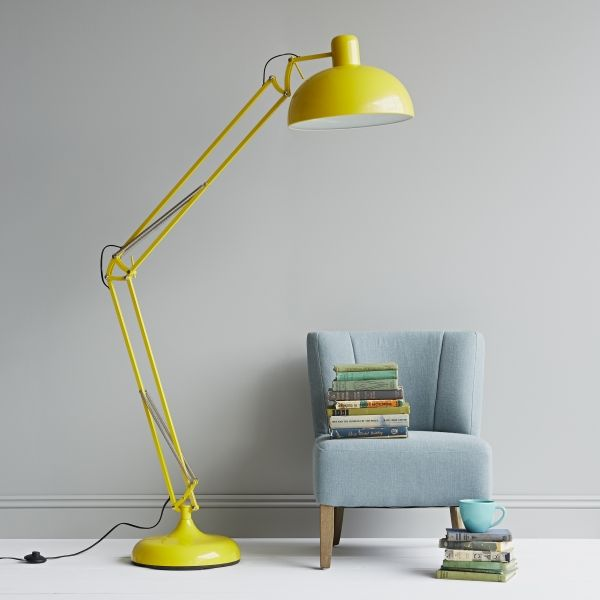 yellow angelpoise lamp with pale blue greys