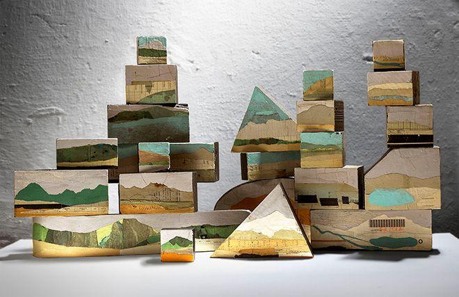 Denis Riva - Monoliti, 2014 - 2015 - Smalto e carta su legno - misure variabili