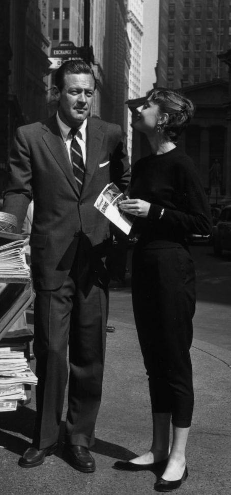 """William Holden and Audrey Hepburn in NYC during the filming of """"Sabrina"""" in 1954."""